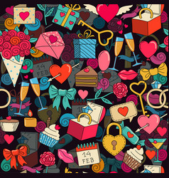 Valentines day seamless background with sketches vector