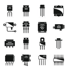 Voltage regulator icons set simple battery vector