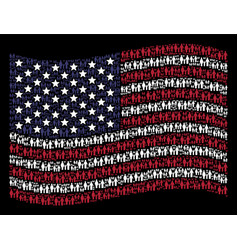 Waving united states flag stylization of family vector