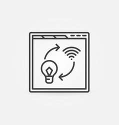 web browser with light bulb and wifi outline icon vector image
