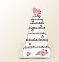 Wedding cake design vector image vector image