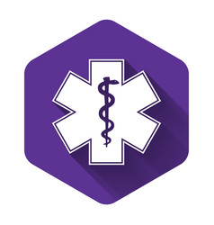White medical symbol emergency - star of vector