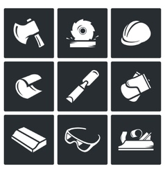 Woodworking icons vector image