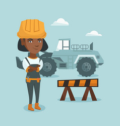Young african-american builder with arms crossed vector