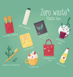 zero waste collection with rules eco concept vector image