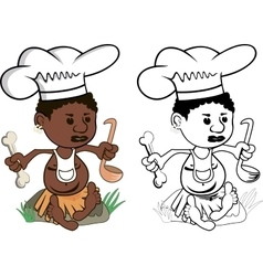 African Chef cook vector image