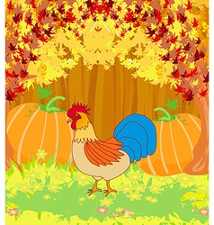 rooster on wooden background with leaves vector image vector image