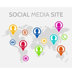 Social media icons with world map vector image vector image