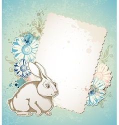 Vintage Easter card with rabbit vector image