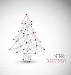 card with abstract christmas tree made from lines vector image vector image