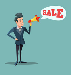 cartoon businessman with megaphone promoting sale vector image