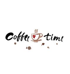 coffee time modern brush calligraphy handwritten vector image