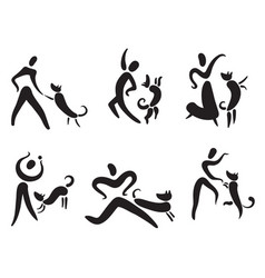 icons set with people and dogs pictigram for vector image vector image