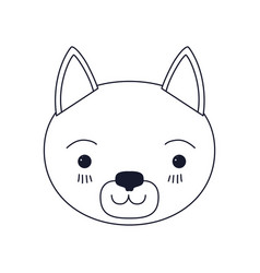 Sketch silhouette caricature face of cat vector