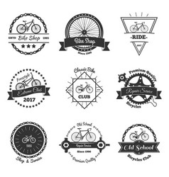 bicycle monochrome emblems collection vector image