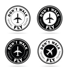 flying icon set travel in black and white color vector image