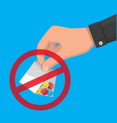 hand of drug dealer holding bag with narcotics vector image