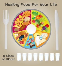Healthy Food For Life Plate Design vector image vector image