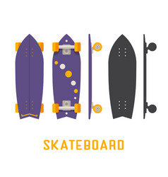Short skateboard bottom side and top view vector