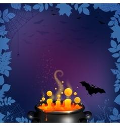Halloween party flyer background in dark purple vector image vector image