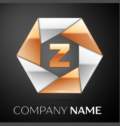 letter z logo symbol in the colorful hexagon on vector image