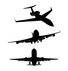 Set of black silhouette three airplanes vector image