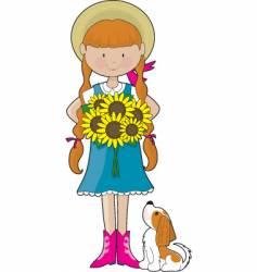 sunflower girl vector image vector image