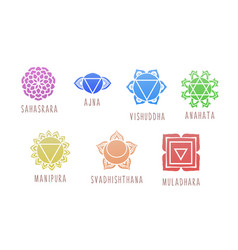 7 chakras symbol coloring for vector