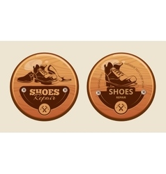 Advertisement wood panels for shoes repair vector