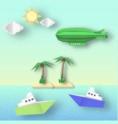 Airship flies over sea and island vector