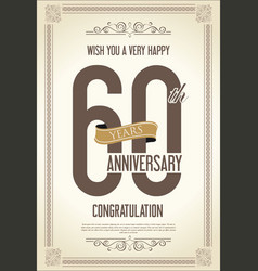 Anniversary retro vintage background 60 years vector
