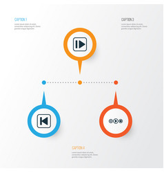 audio icons set collection of run song back vector image