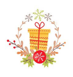 Beautiful christmas badge on white background vector