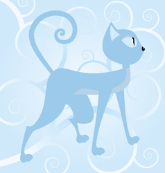 blue cat on spiral background vector image