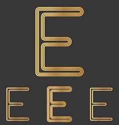 Bronze line e logo design set vector