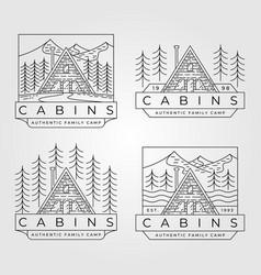 cabin line art logo minimalist design vector image