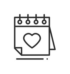 calendar line icon reminder happy valentine day vector image