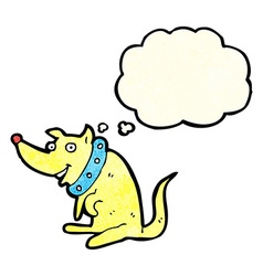 cartoon happy dog in big collar with thought vector image