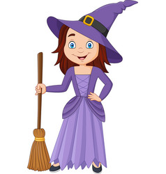 cartoon little witch holding broomstick vector image