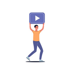 cartoon man holding up play button - video viewing vector image