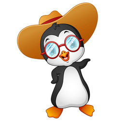 Cartoon penguin in summer straw hat vector