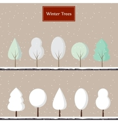Cartoon winter trees vector image