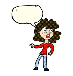 Cartoon worried woman pointing with speech bubble vector