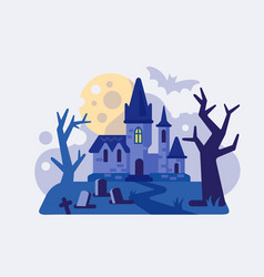 castle at night with moon next to graves vector image