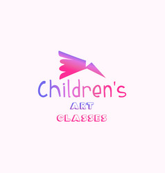 childrens art classes gradient lettering logo vector image