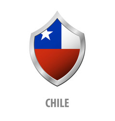chile flag on metal shiny shield vector image