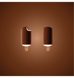 Chocolate and vanilla ice cream pops on brown vector