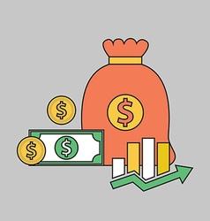 Color line finance money bag vector