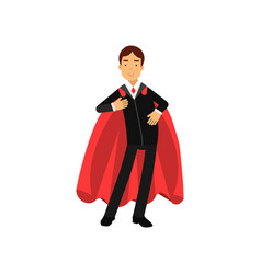Confident business man with superhero mantle vector