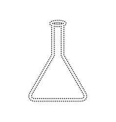 conical flask sign black dotted icon on vector image